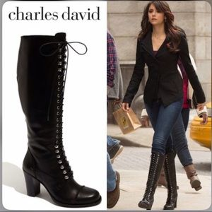 Charles Davies Knee High Lace Up Boots Size 9.5